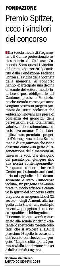 20.01.18 - Corriere del Ticino