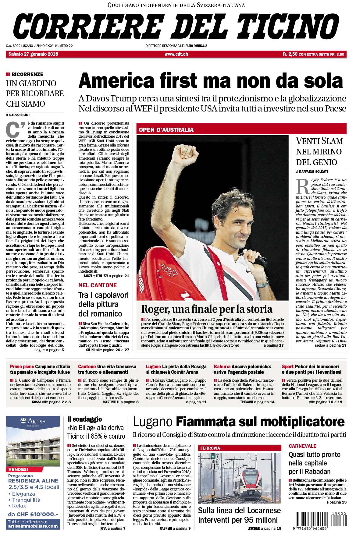 27.01.18 - Corriere del Ticino