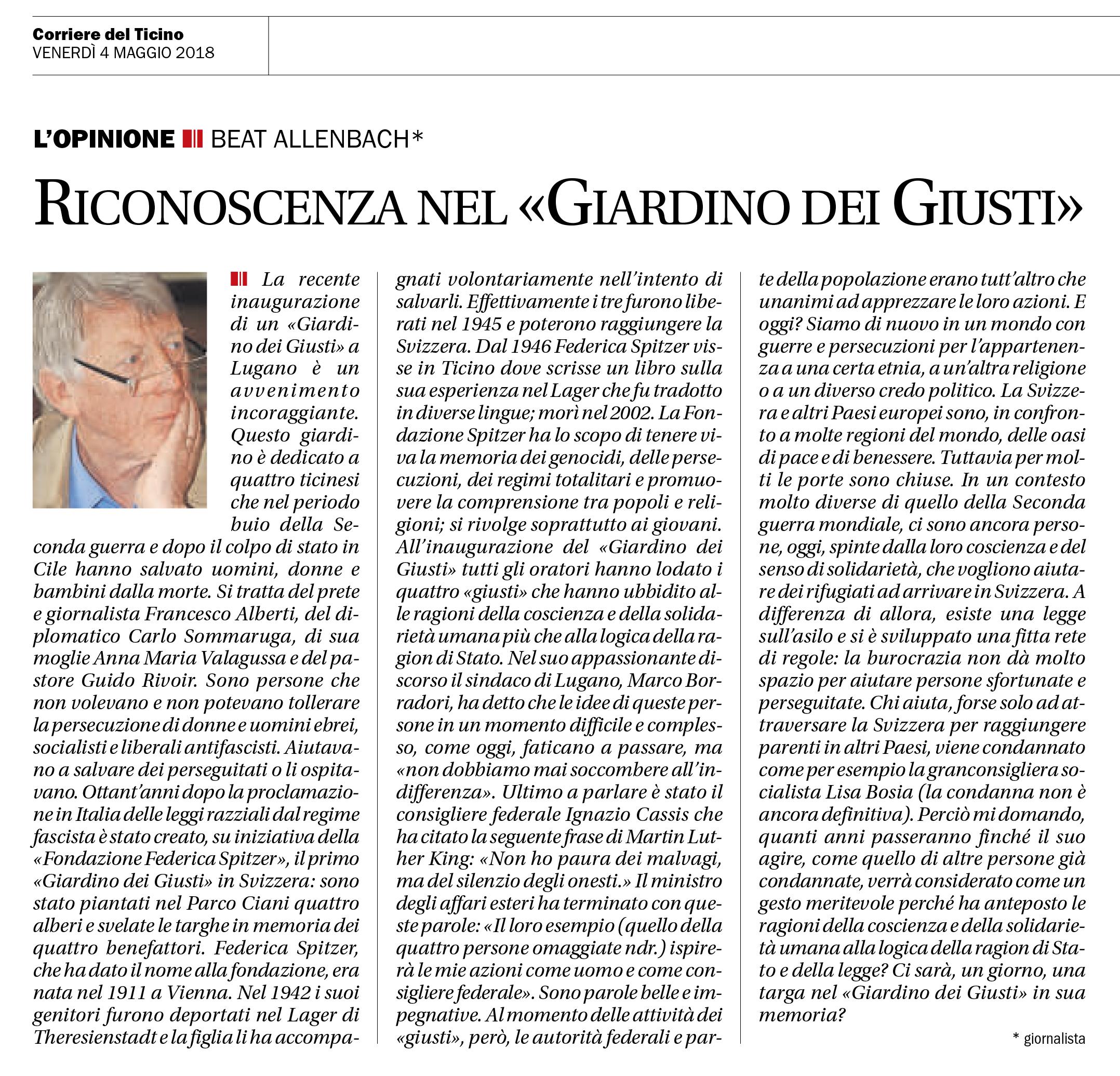 04.05.18 - Corriere del Ticino