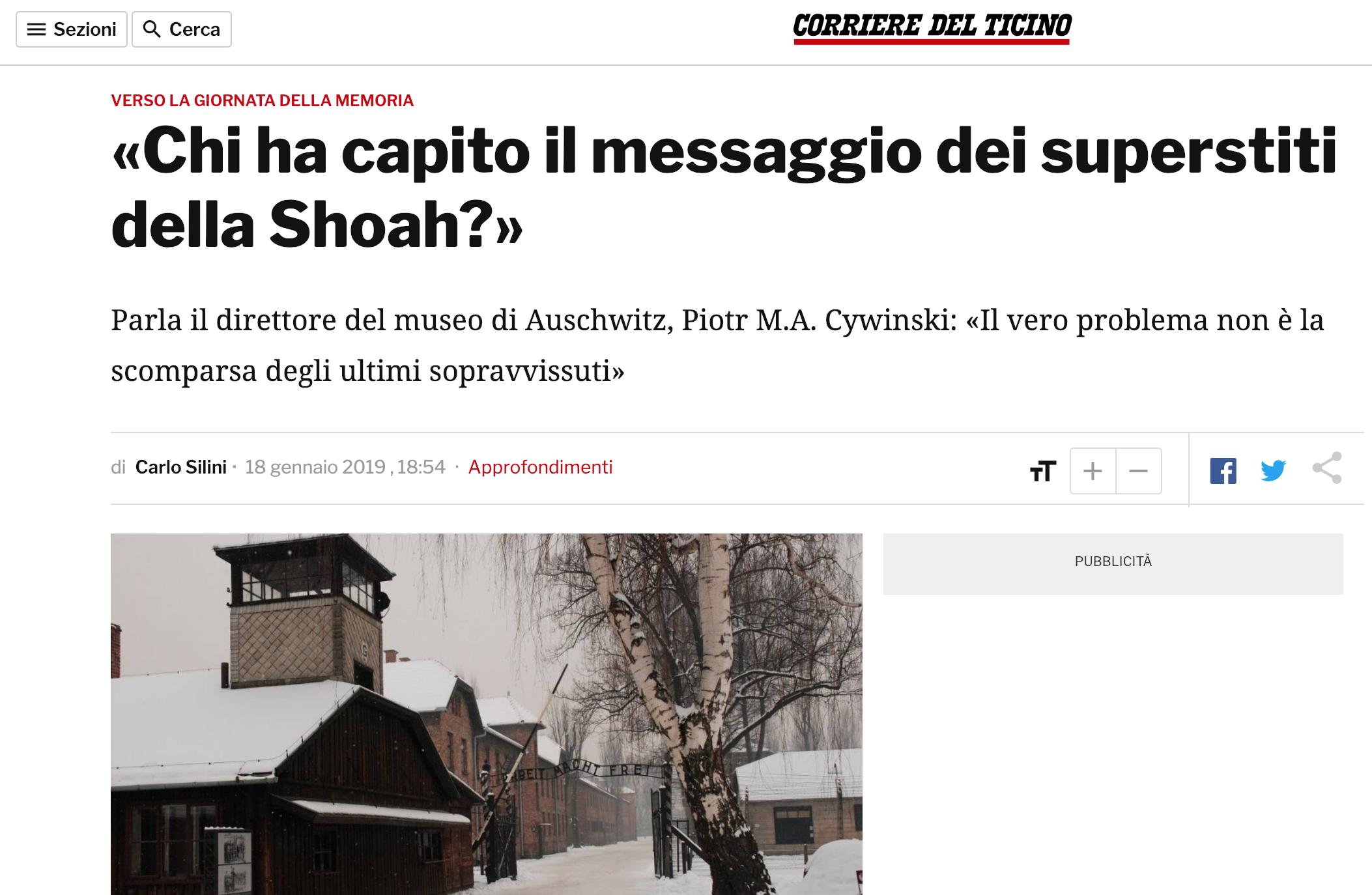 18.01.19 - Corriere del Ticino