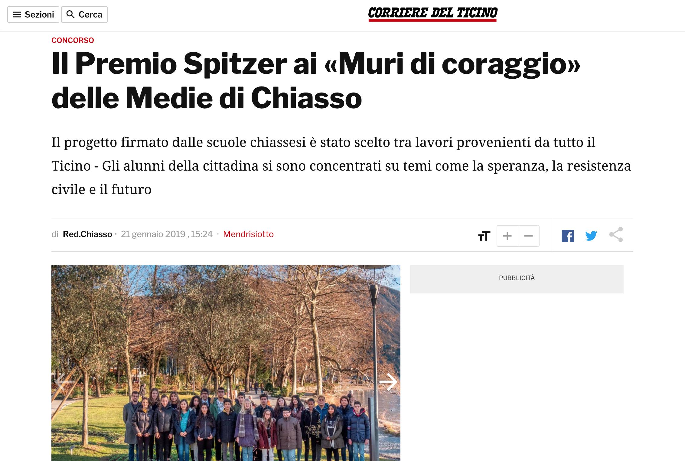 21.01.19 - Corriere del Ticino