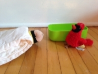 Meanwhile, Bee's friend Redbird has come to visit. Unfortunately, Bee has no energy to play and is resting in his bed.