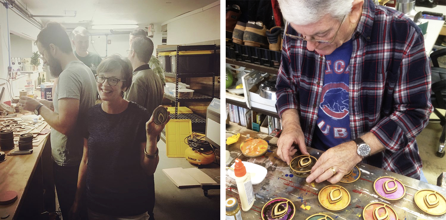 Left: Anna Worley and Aaron Hardin chipping away at the laser cutter. Right: Richard Tenhet gluing the ornament overlays to the bases.