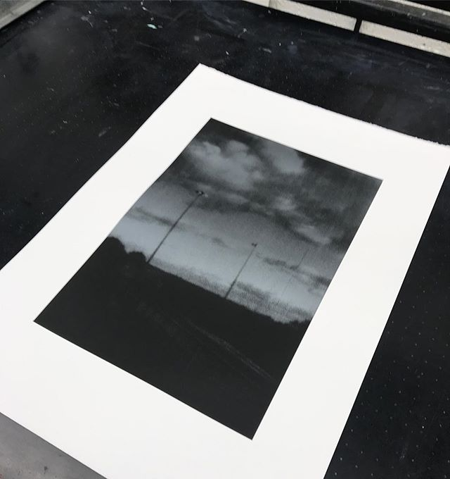 Severn Bridge Services. Silver over black screen print on Fabriano 5.