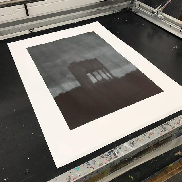 From a series of pinhole camera images I took of Wiltshire water towers last year. Never finished the original series of prints but this works so well in context of my current work. Positive/negative duotone screenprint onto black slab on Fabriano 5.