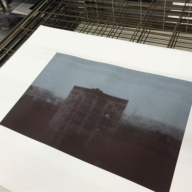 San Francisco Brownstone. Negative/positive screen print onto black - pinhole camera.