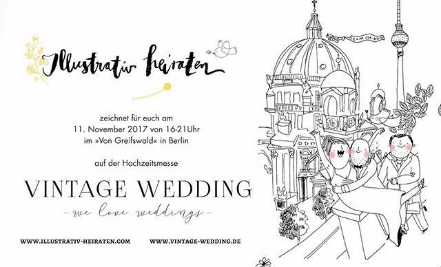 Am 11.11.17 zeichne ich auf der Hochzeitsmesse @vintageweddinghochzeitsmesse in Berlin! 🌸 Mehr dazu im Profil!  #illustration #heiraten #illustrativ_heiraten #hochzeit #hochzeitsillustration #hochzeitsinspiration #wedding #weddingillustration #schnellzeichner #berlin #events #frolleinmotte #frolleinmotte_illustration