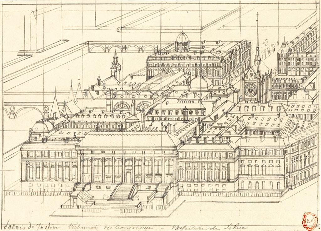 Axonometry of Hubert Clerget of the Palais de Justice - tribunal de Commerce - Préfecture de Police, 19e century.  Source: Lien