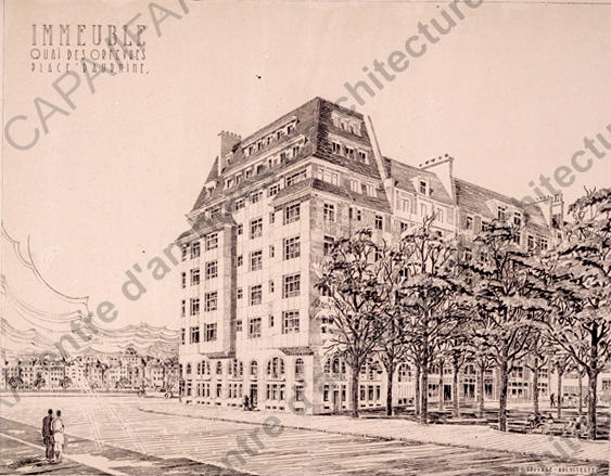 Perspective de l'immeuble sur la place Dauphine  Crédits:  SIAF / Cité de l'Architecture et du Patrimoine / Archives d'architecture du XXe siècle  Source:  Lien