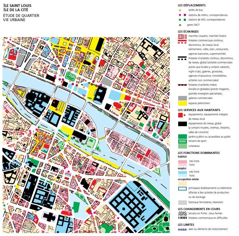 """Carte d'analyse tirée de l'étude """"Ile Saint-Louis et Ile de la Cité. Diagnostic urbain et patrimonial"""" Source:  Lien"""