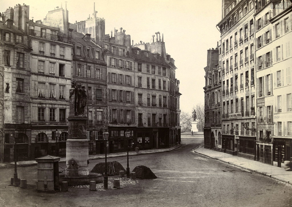 Charles Marville. Place Dauphine, vers le pont Neuf. Paris Ier. Vers 1865.  Source:  Lien