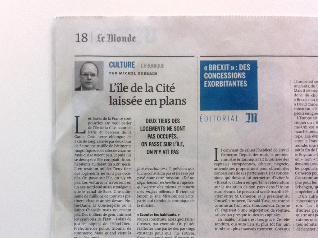 Le Monde (Feb. 06th of 2016)  Source: Lien