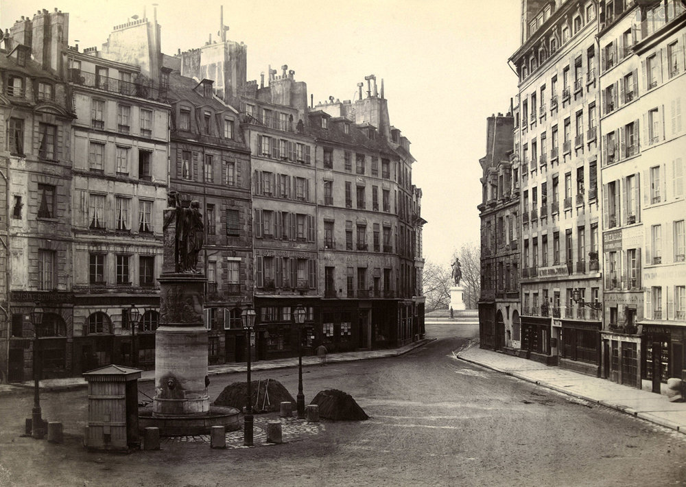 Charles Marville.Place Dauphine, vers le pont Neuf. Paris Ier. Vers 1865.  Source: Lien
