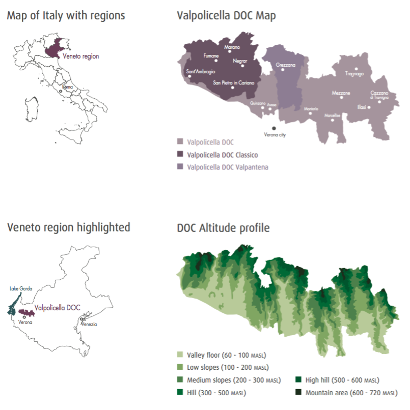 Valpolicella's sub-regions, in the Verona foothills of the Eastern Alps, with Lake Garda to the west