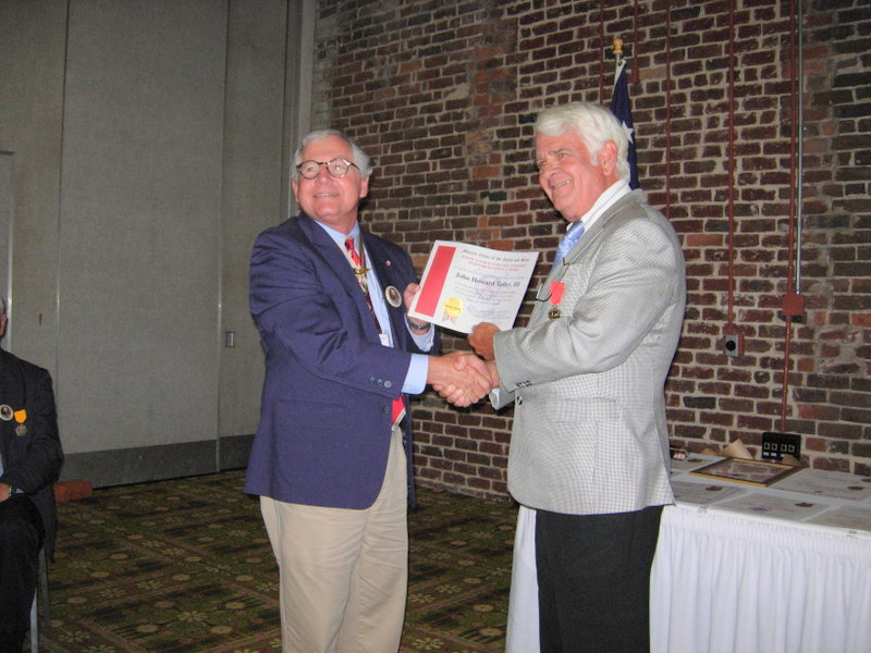 MAJOR GENERAL WILLLIAM HENRY CHASE WHITING CHAPTER 305, MILITARY ORDER OF THE STARS AND BARS MEMBER, HOWARD TALLEY III, RECEIVED AN AWARD DURING THE NATIONAL CONVENTION OF THE MOSB HELD IN WILMINGTON FROM JULY 6-8, 2017.
