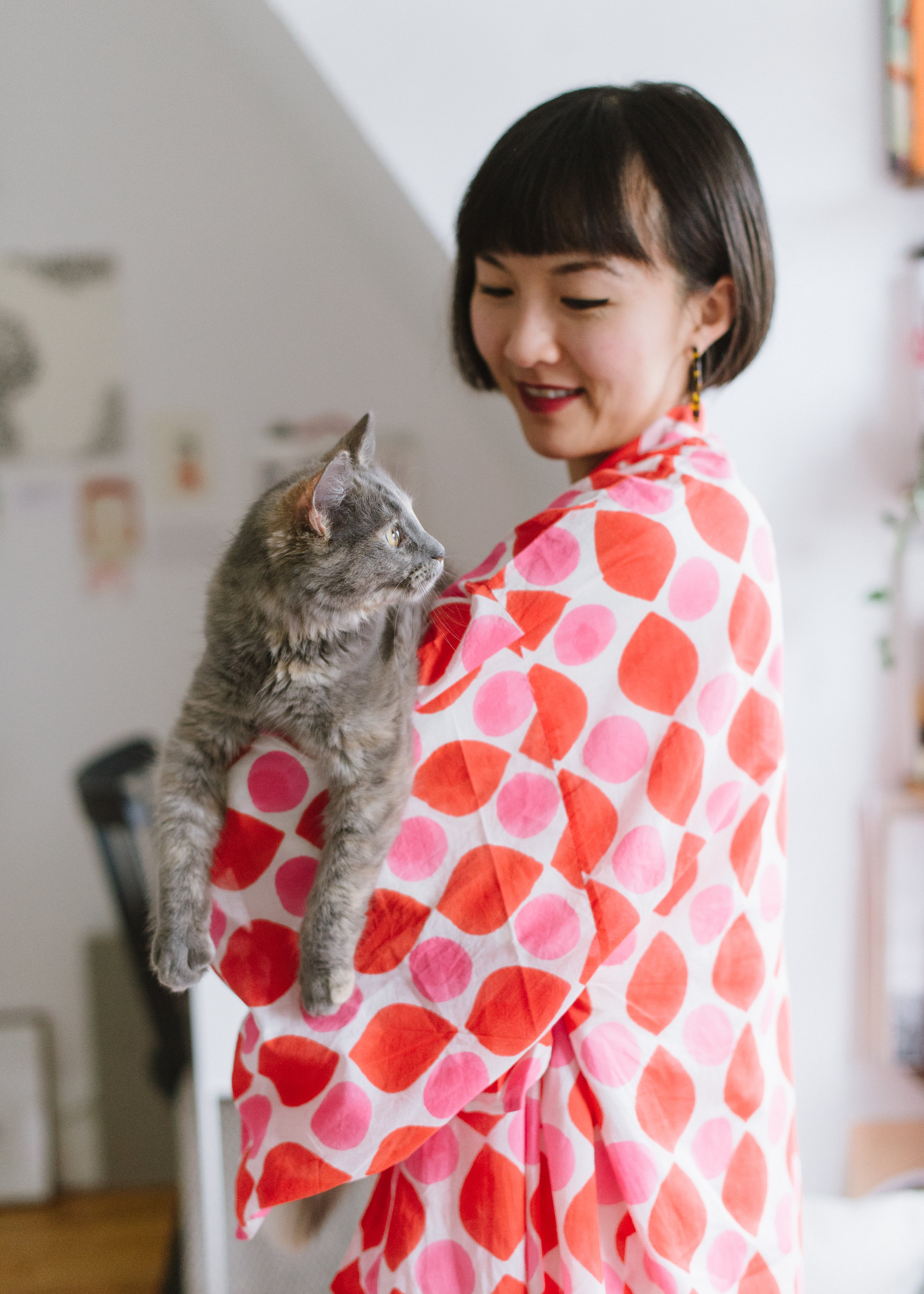 Justine  and Opi, so at home in her  Lena Kimono in Coral Drops