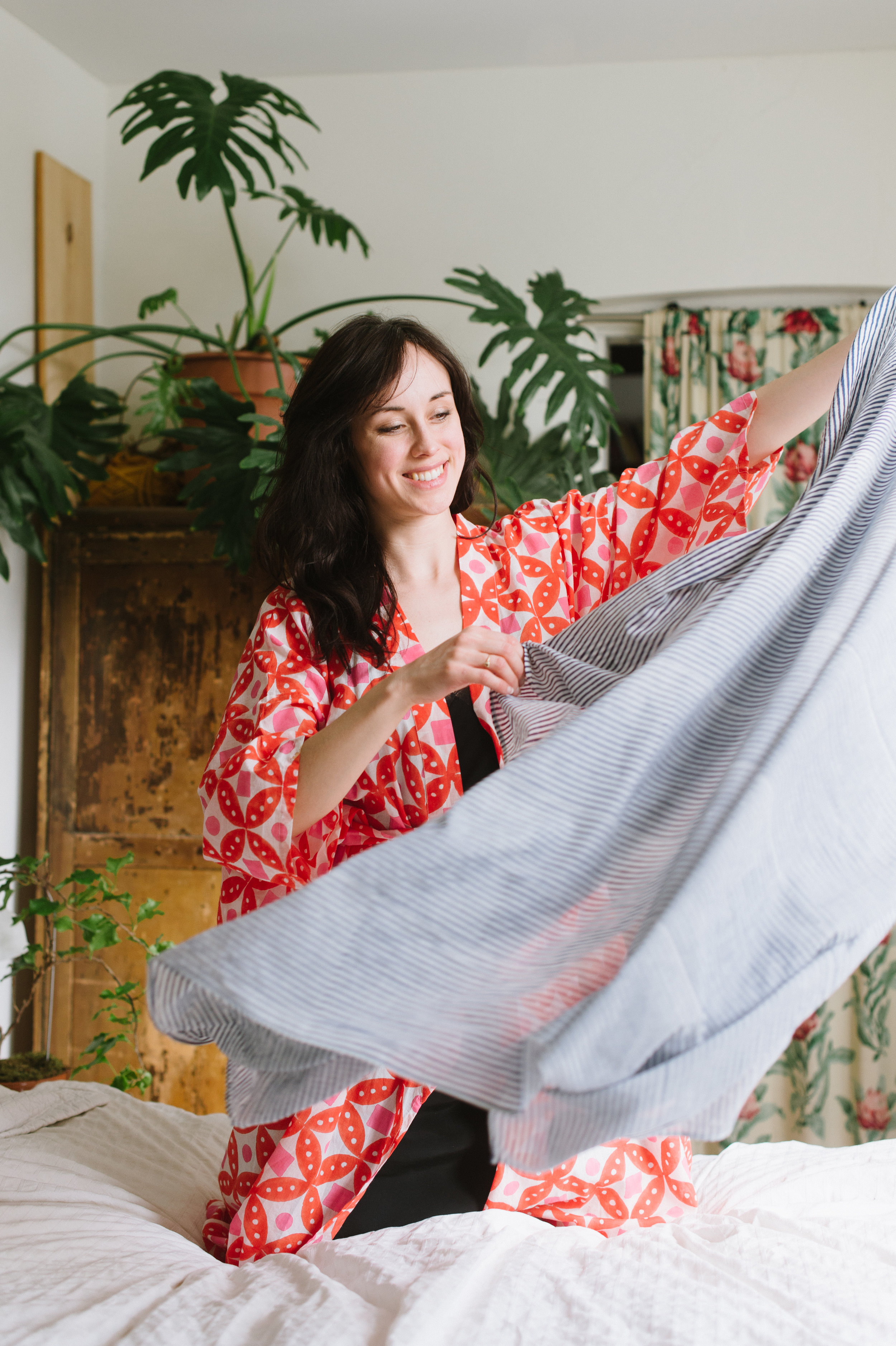 Spreading the  Anni Sarong,  surprisingly large and light.