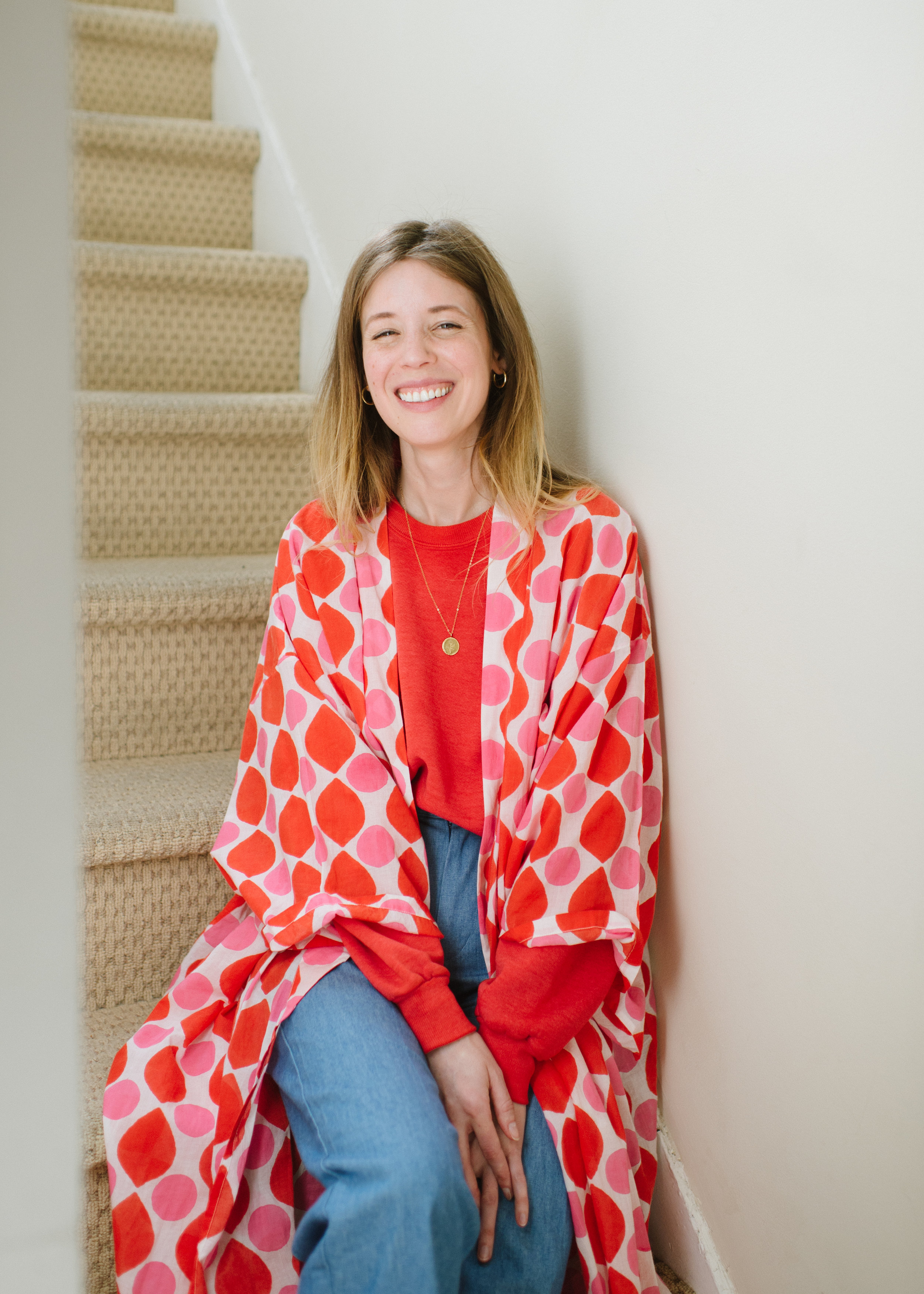 Melinda  looking absolutely radiant in the bright and happy  Kimono in Lena Drops !