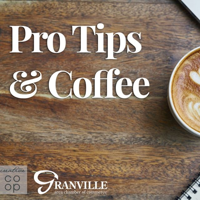 Don't miss this Pro Tips event tomorrow!  Do you feel overwhelmed or nervous at networking events? For our July Pro-Tips, with your feedback from the previous months' workshops, COOP partners, directors, entrepreneur coaches, small business marketing experts, and branding experts, Michelle Newman and Jodi Melfi, will walk you through the basics of Networking through your membership organizations. We will discover ways to take advantage of events and online portals provided by your membership organizations.  We'll also field your questions - bring your list!!! Feel free to post any questions you may have on the topic in the comments below.  On the Second Tuesday of each month, we take a look at social media - Instagram, Facebook, Linkedin, Google Business - and dig in hands-on! Learn to use these platforms to begin promoting your business in a relevant, effective way, that also works for you and your abilities. Our team here at the COOP bring their knowledge to share for each FREE, one-hour session.  Brought to you in collaboration with the Granville Area Chamber of Commerce.