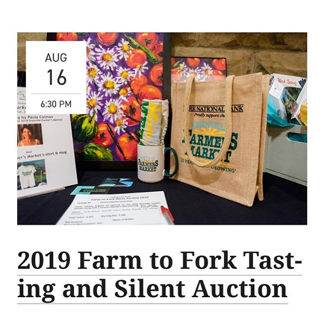 Join us tonight at the @creativecoopgranville from 5-7pm as part of the @granvilleoh Art Walk. We will be showing off art items to be featured in the @lickinglandtrust Farm to Fork Silent Auction on August 16. #artwalk #granville #silentauction