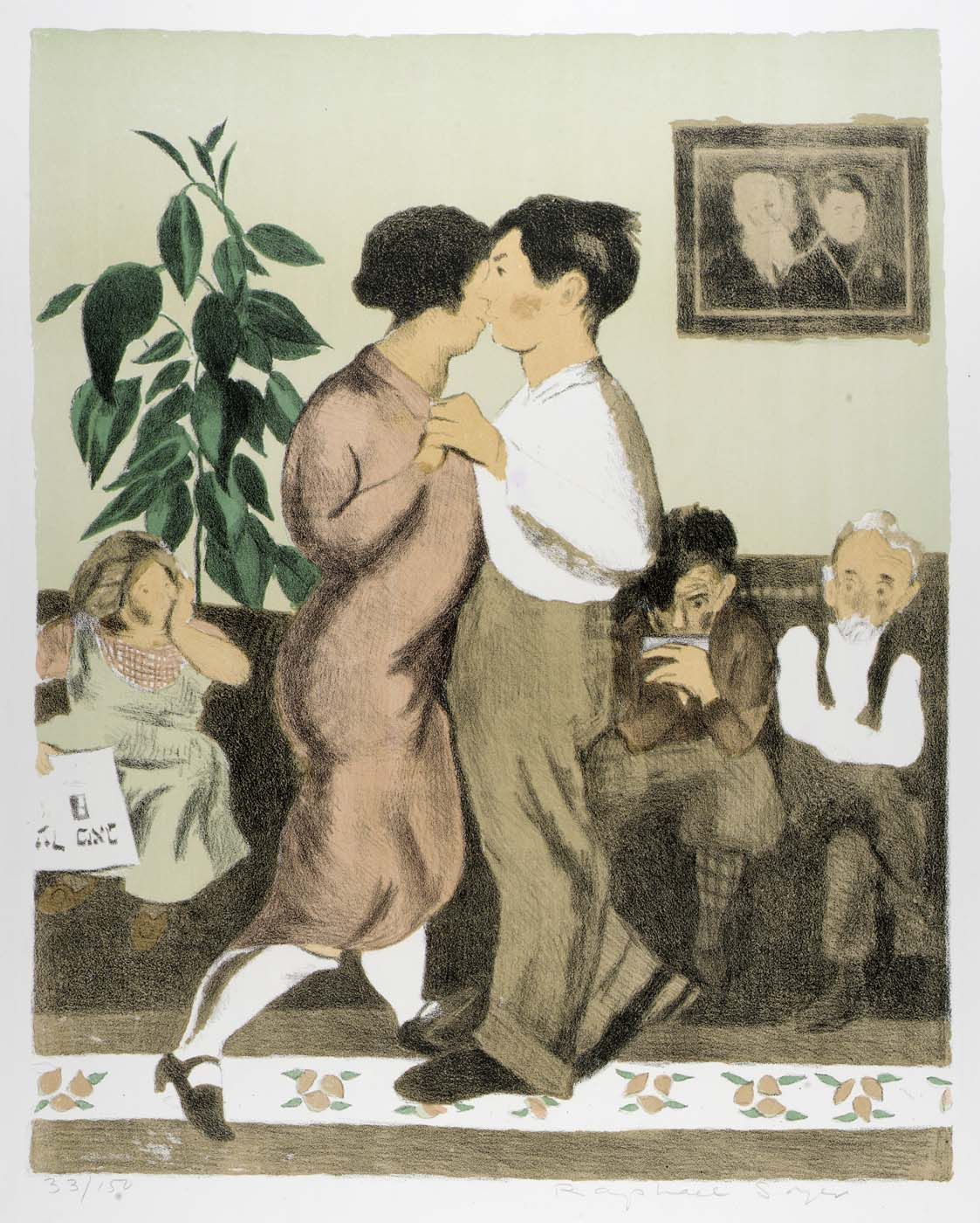 Raphael Soyers,  The Dancing Lesson,  1965 color lithograph; Collection of The Grace Museum; Gift of Stephen & Jill Wilkinson