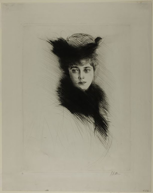 1900 Portrait of Mme. Cheruit Wearing a Fur Collar drypoint 50.5 x 40 cm.jpg