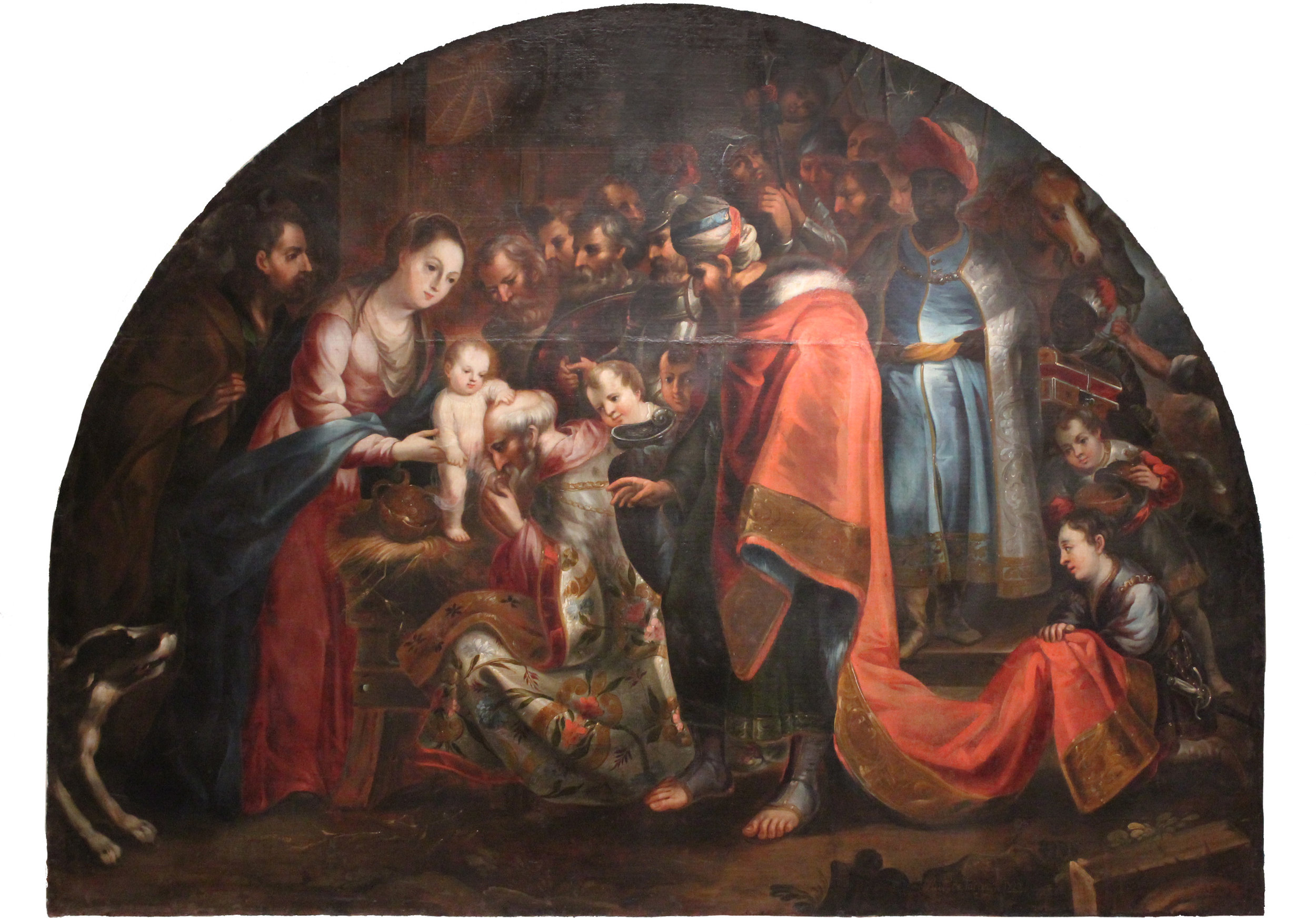 """Antonio de Torres, Adoration of the Magi, 1729, 68.5"""" x 91"""", Oil on canvas. San Angelo Museum of Fine Arts, Museum purchase with funds from the Art and Eva Camuñez Tucker Foundation"""