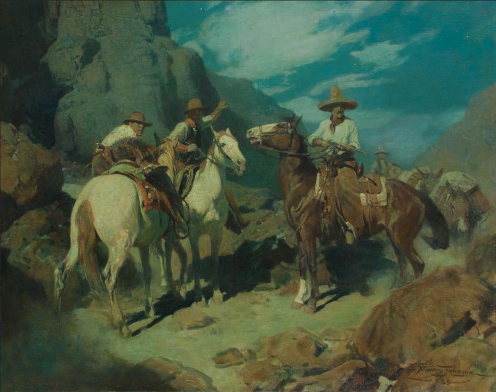 Frank Tenney Johnson, Contrabandista a la Frontera, 1925, oil on canvas, Courtesy Sid Richardson Museum, Fort Worth, Texas.