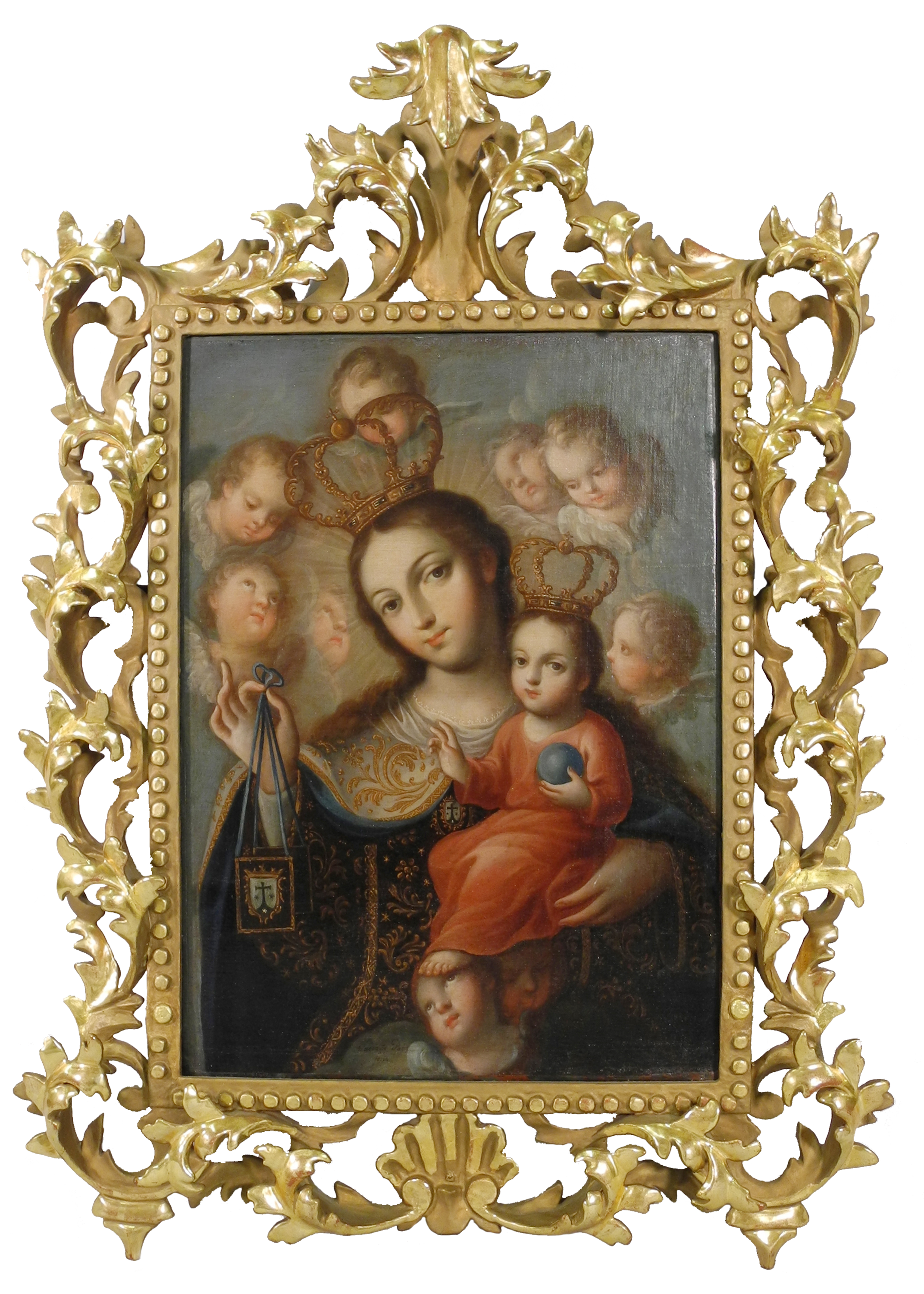 """Jose de Paez,  Our Lady of Carmel , c. 1760, 17.25"""" x 12.5"""", oil on canvas. San Angelo Museum of Fine Arts. Museum purchase with funds from the Art and Eva Camuñez Tucker Foundation."""
