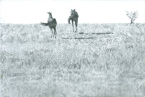 Katie Maratta, 2 Horses Running , 2015, graphite, ink, pastel, and watercolor on archival fiberboard, courtesy of the artist.