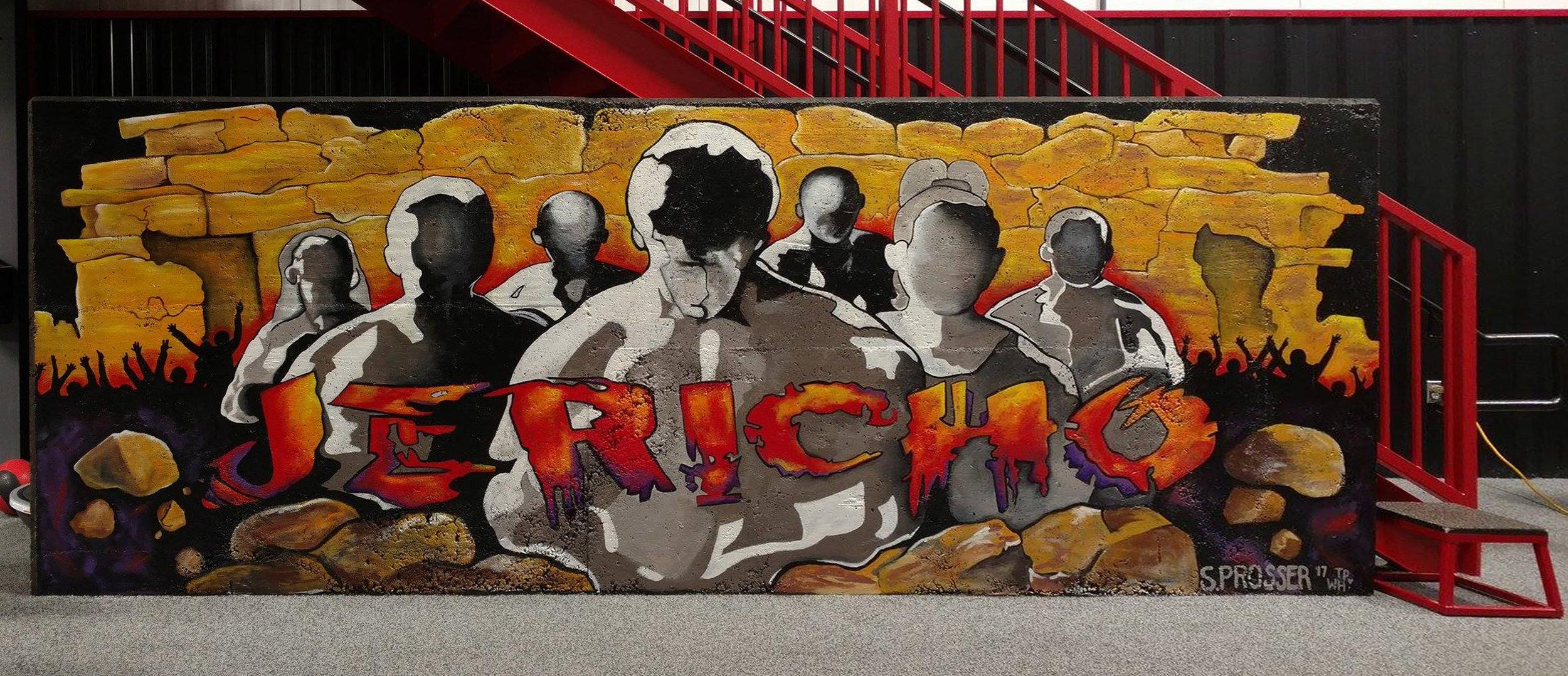 Jericho,  Mural - Acrylic Latex Enamel on Concrete,6 x 15 ft.