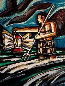 David Bates, Lantern Fishing II, 2000, painted wood relief