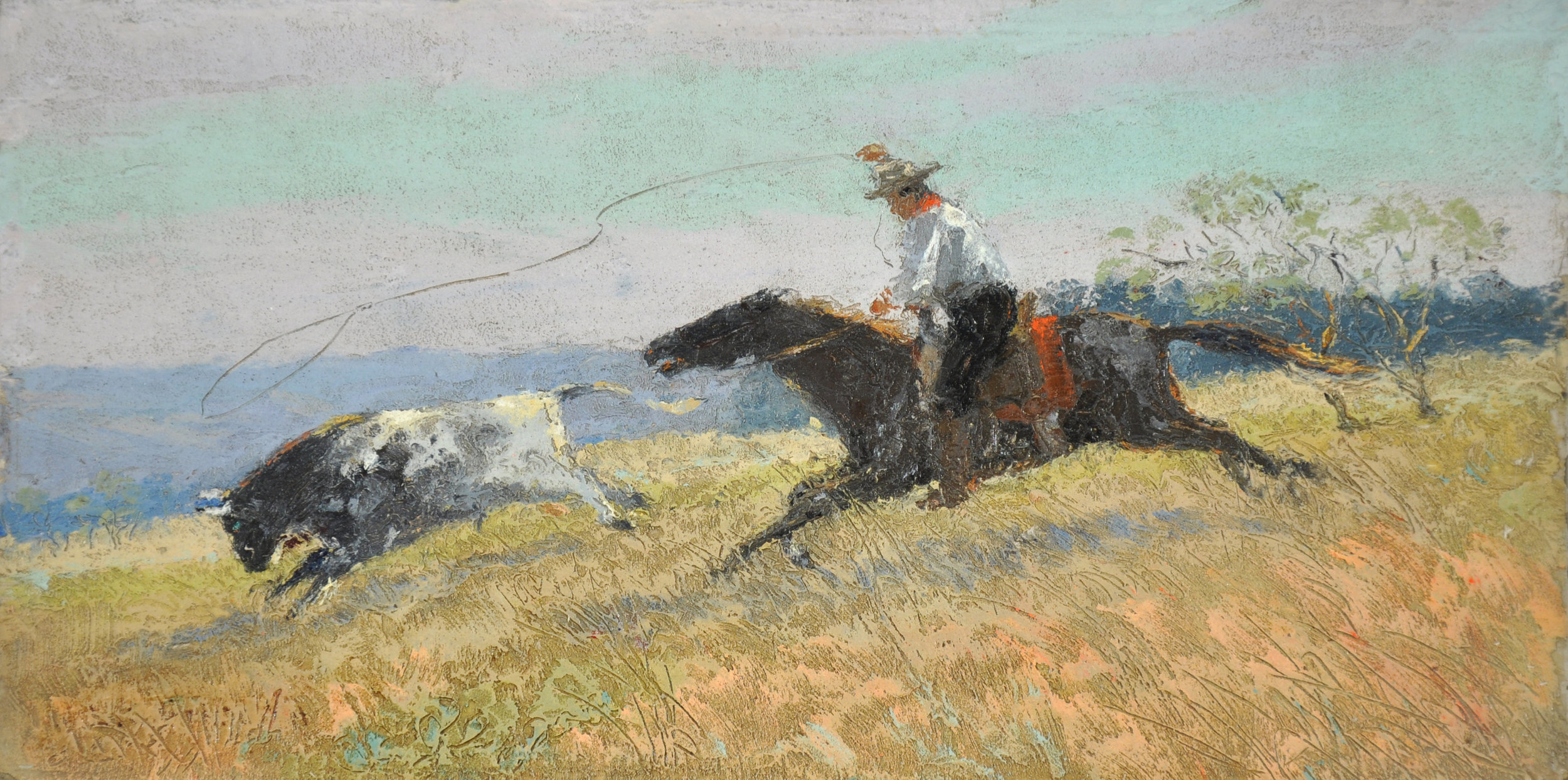 L.O. Griffith, Untitled (Cowboy and Steer), n.d., oil on canvas