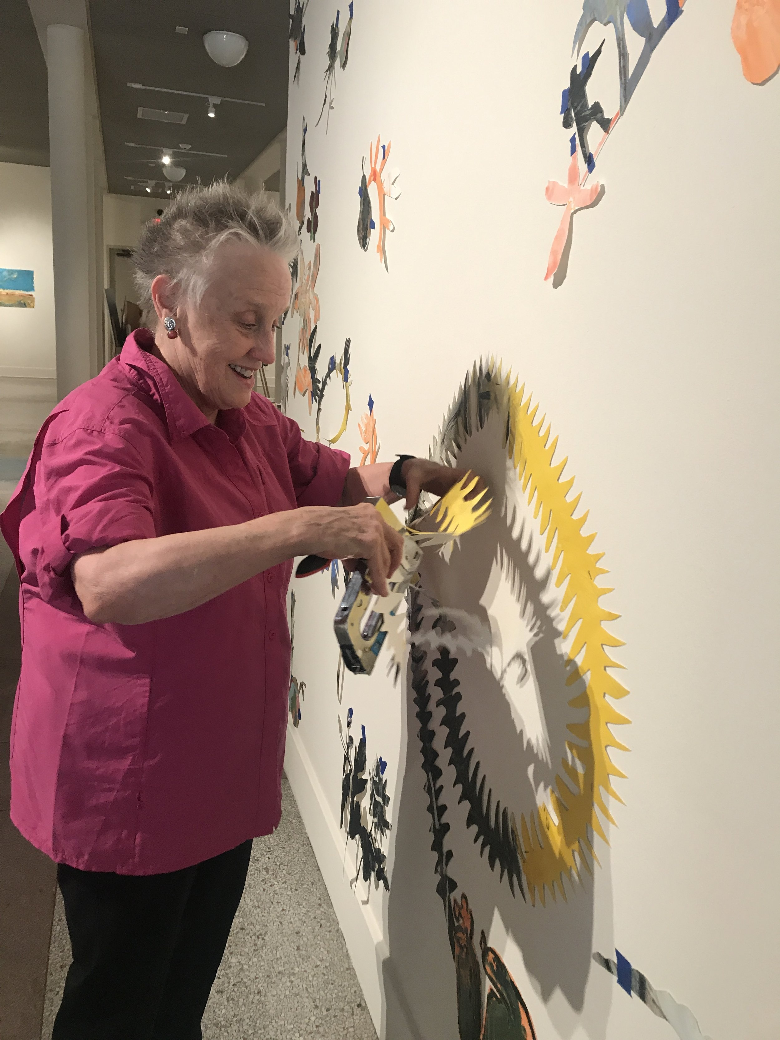 Mary Vernon, installing her work,   Installation #1   at The Grace Museum.