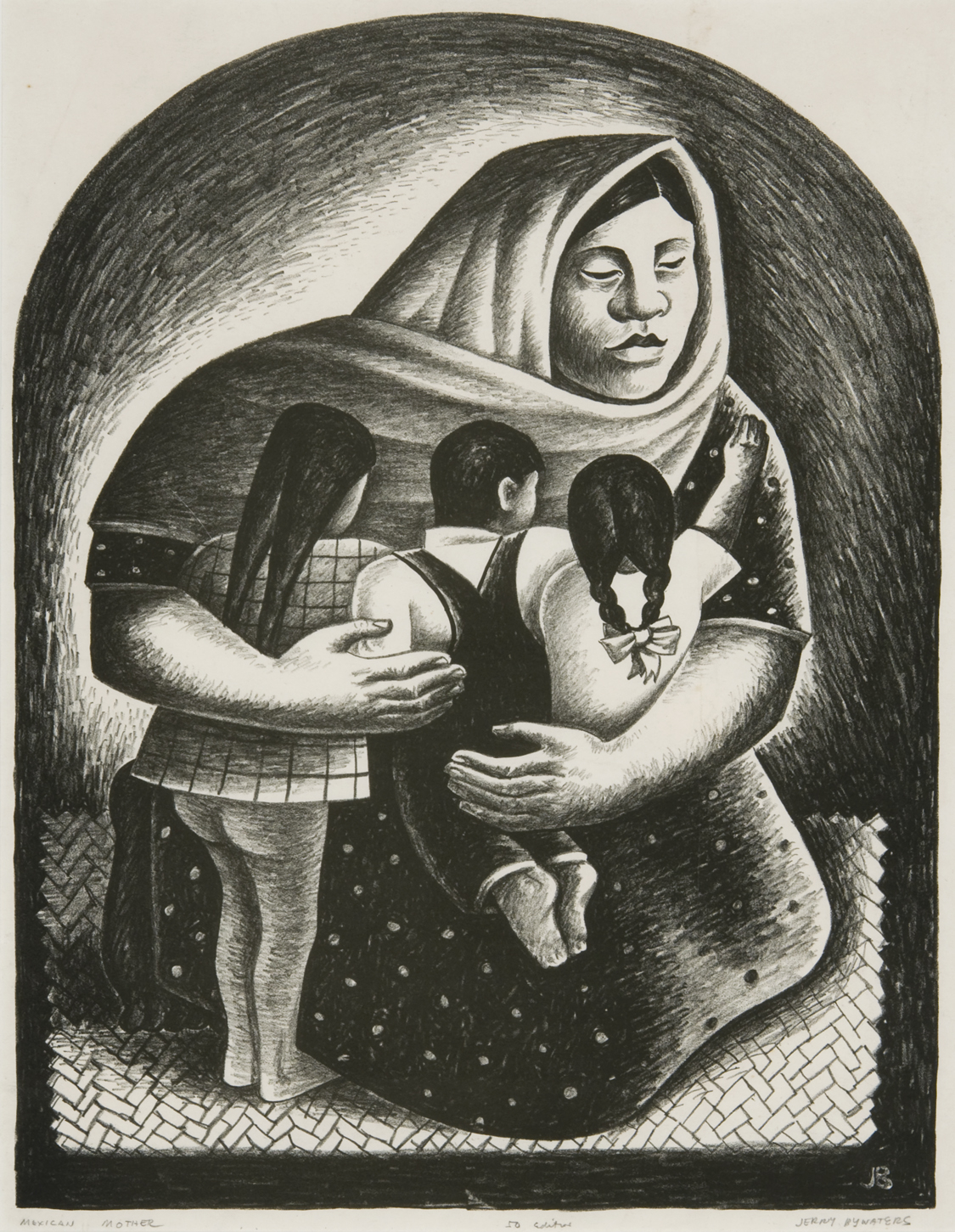 Jerry Bywaters, Mexican Mother, 1936, lithograph, Gift of the 2016 Collectors Circle
