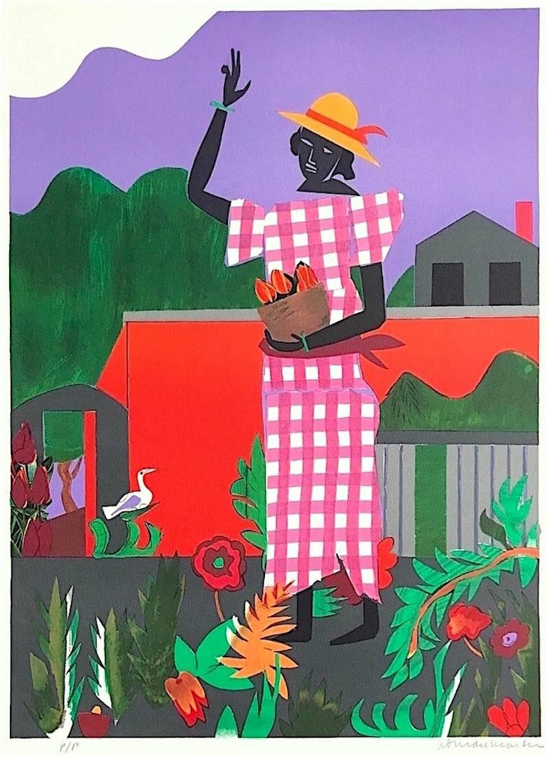 ROMARE BEARDEN, Girl in the Garden, 1979, lithograph, Collection of The Grace Museum
