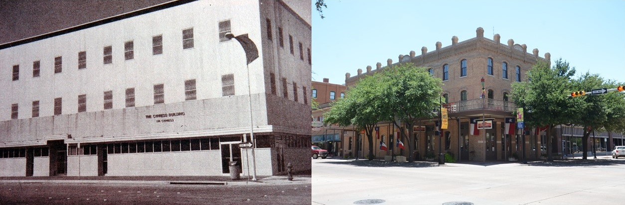 The Cypress Building, SW corner of N. 2nd and Cypress St., Then and Now.