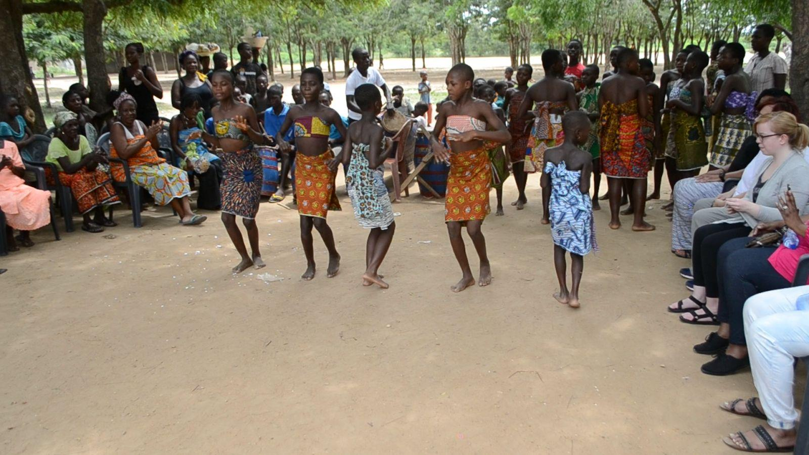 The youth performing  Agbadza  , the most popular traditional dance of the Ewe people.
