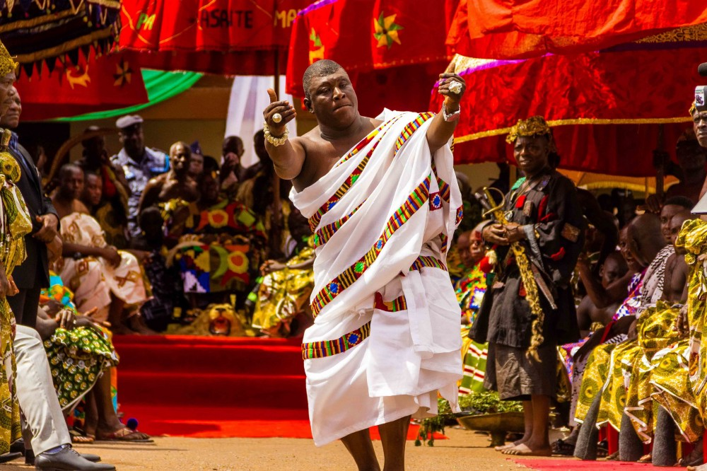 A chief dazzles the audience with a dance performance at a traditional festival durbar (credit: Lema concepts)