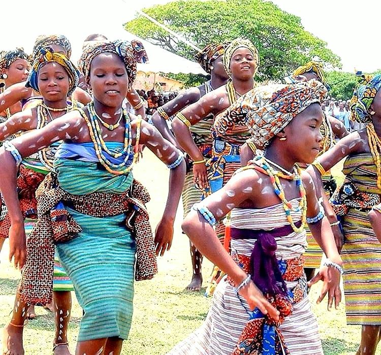 Young girls joyfully perform the Abadza dance during the Hogbetsotso Festival