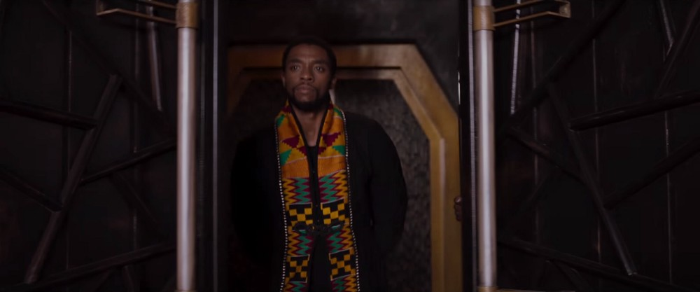 Black Panther's main character T'challa wears Ghanaian Kente with pride