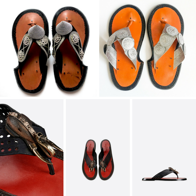 Top: Traditional Ashanti Ahenema; Bottom: Valentino Thong Sandal with Wood Detail