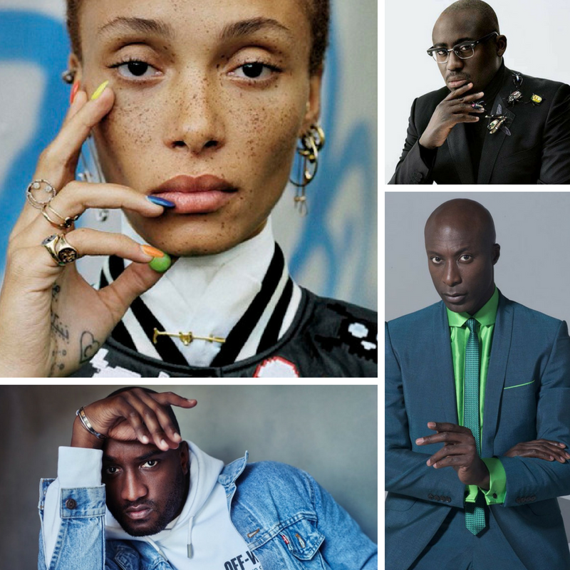 Top Right: Adwoa Aboah; Top Left: Edward Enninful; Bottom Left: Virgil Abloh; Top Right: Ozwald Boateng