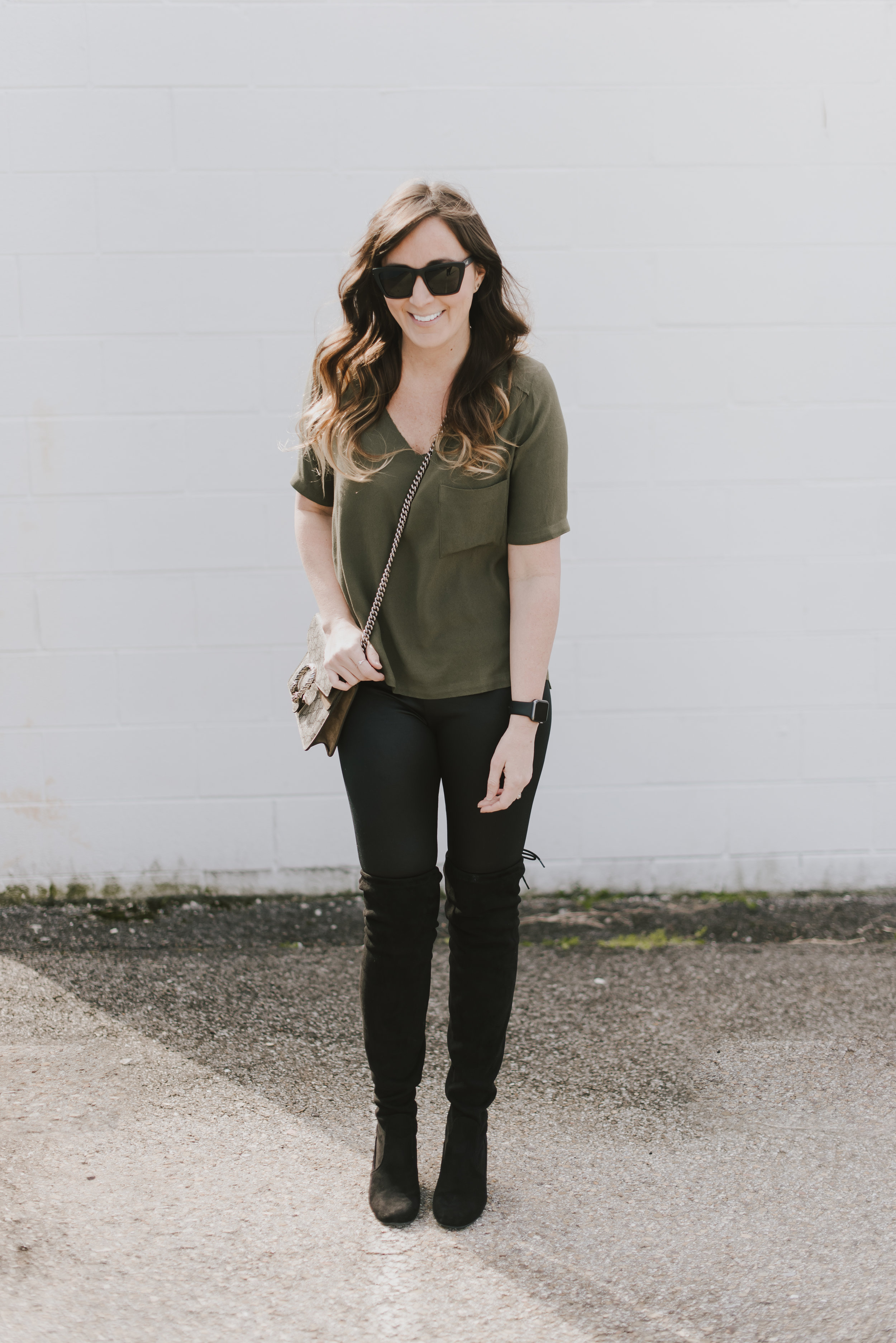 details:  belair paris top  // target faux leather leggings (sold only in stores, not online)similar  here //  black over the knee boots //  prism london sunglasses //  gucci dionysus bag