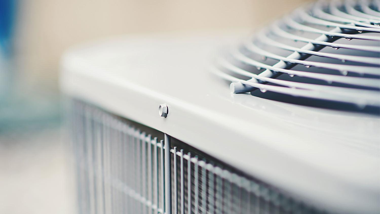 Air conditioner unit in residential garden