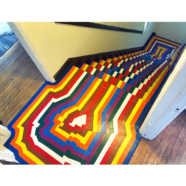 Staircase Installation. Vinyl floor tape, inspired by Jim Lambie and glitch art. (2015)