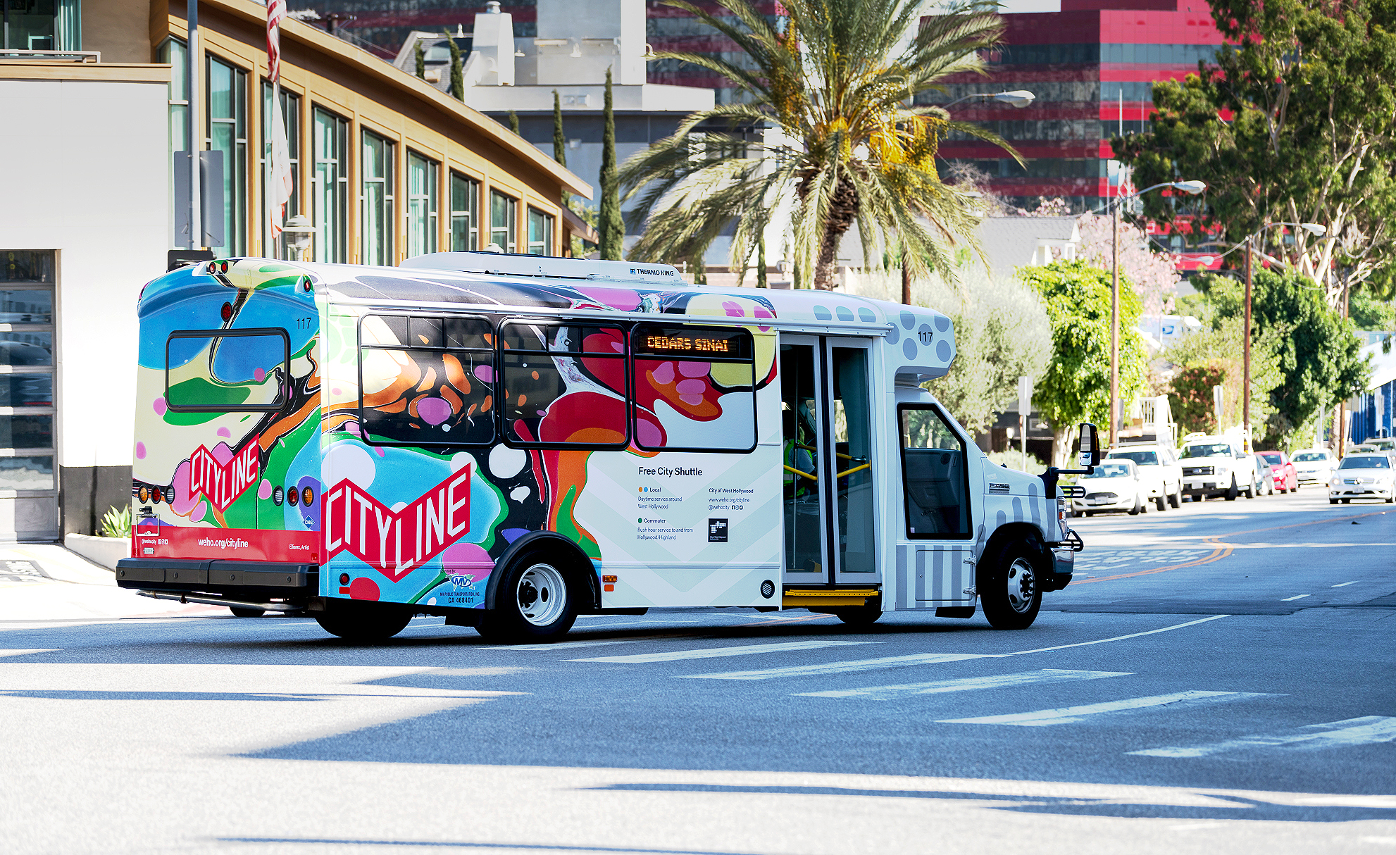 Public Art Commission,  Cityline Bus Vinyl Vehicle Wrap , The City of West Hollywood, CA. 211.5 in x 70 in and 95 in x 70 in. (2018)
