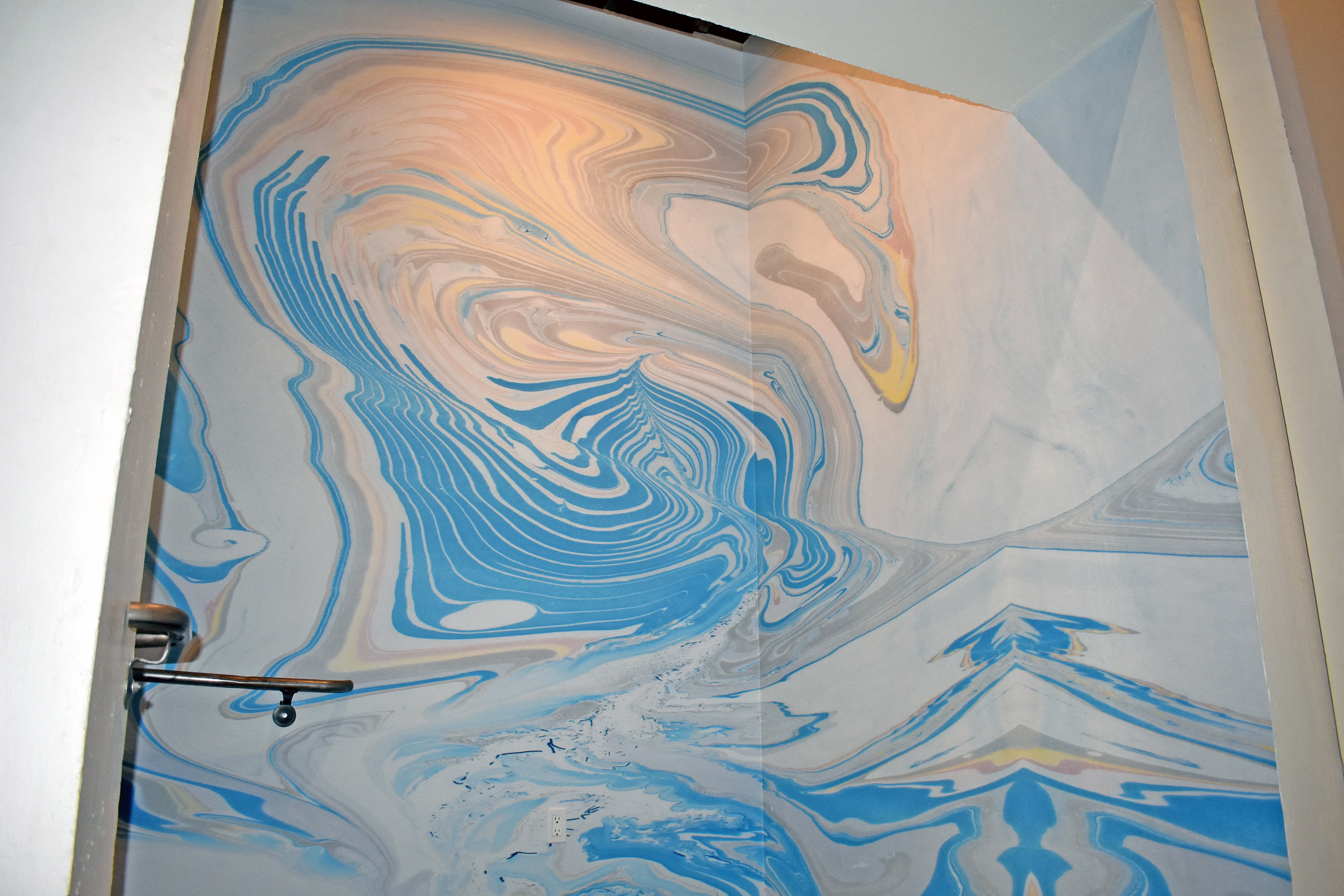 Marbled Mural Installation, Redcar Properties, Highland Park, CA. 33 ft x 12 ft. (2019)