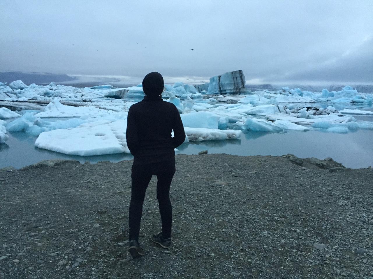 sara with the glacier.JPG