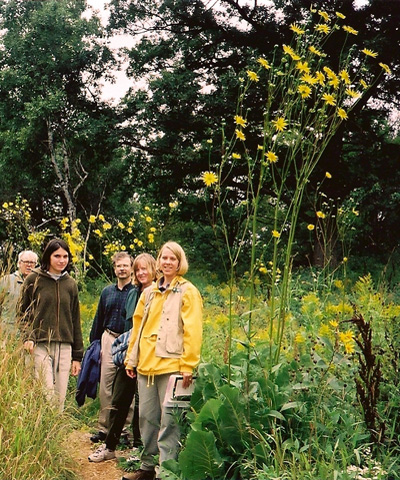 A group of people standing next to Prairie Dock, a featured plant of the Yellow Garden.